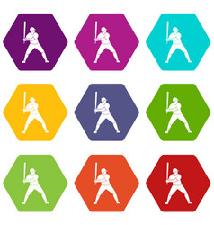 baseball player with bat icon set color hexahedron vector image
