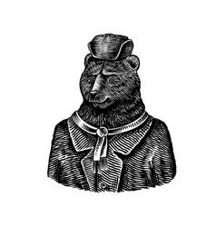 Bear character in fur coat fashionable animal vector