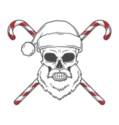 Bearded skull santa claus with candy canes poster vector