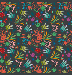 beautiful bird floral pattern background hand vector image