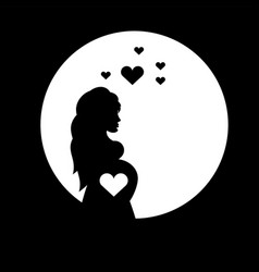 beautiful girl with belly pregnant shadow black vector image