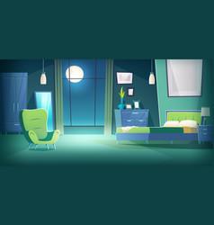 bedroom interior at night with moonlight cartoon vector image