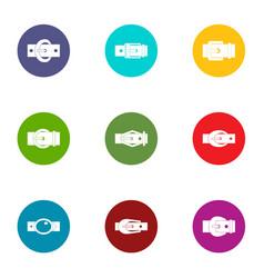 Belt icons set flat style vector