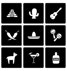 black mexico icon set vector image