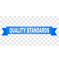 Blue ribbon with quality standards title vector