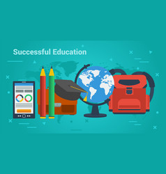 Business banner-successful education vector