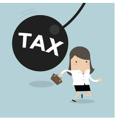 Businesswoman running away from tax pendulum vector