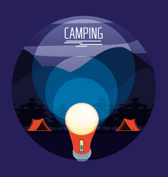 Camping zone with tents and lantern vector