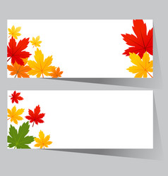 Card with maple autumn leaves vector