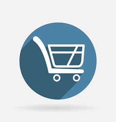 cart online store Circle blue icon with shadow vector image