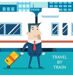 Cartoon Businessman Character Travel Vacation vector