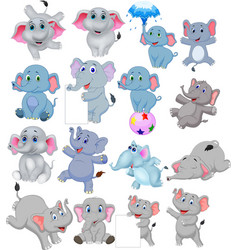cartoon elephants collection with different action vector image