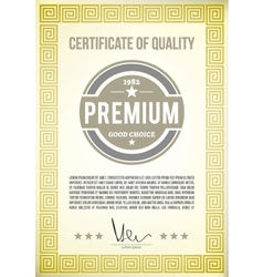 Certificate of quality vector image