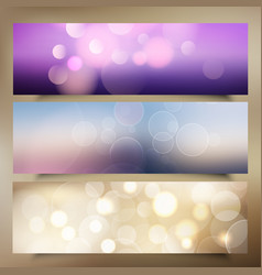 christmas banners with bokeh lights design vector image