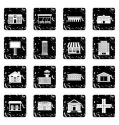 City infrastructure items icons set vector
