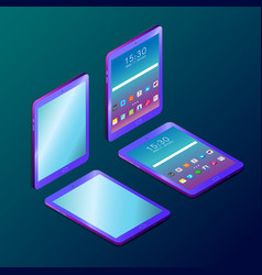 Colored futuristic digital tablet in isometry vector