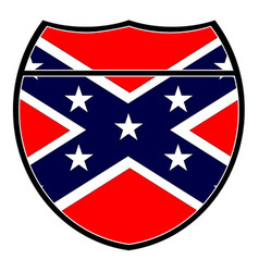 Confederate flag in an interstate sign vector