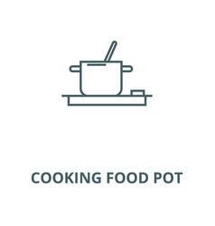 cooking food pot line icon cooking food vector image