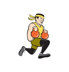 Crossfit Runner With Kettlebell Cartoon vector image