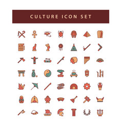 Culture icon set with filled outline style design vector