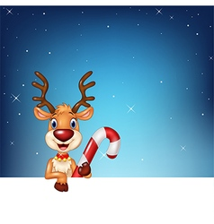 Cute deer holding blank sign and Christmas candy vector image