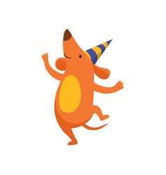 Cute dog in party hat having fun funny cartoon vector