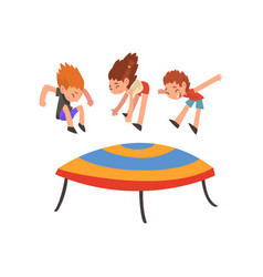 cute happy boys and girl jumping on trampoline vector image