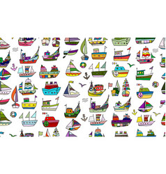 cute little ships seamless pattern for your vector image