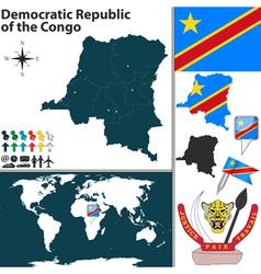 Democratic republic congo map vector