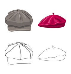 design of headgear and cap icon collection vector image