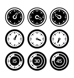 Dial and timers icons set vector