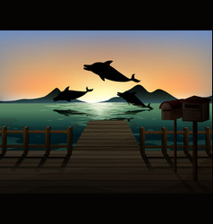 dolphin in nature scene silhouette vector image