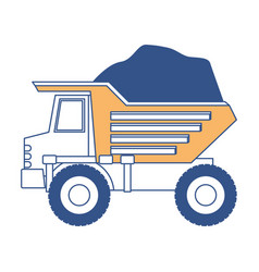 dump truck with rocks on color section silhouette vector image