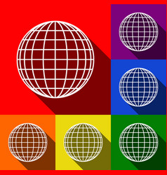earth globe sign set of icons with flat vector image vector image