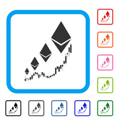 ethereum growth chart framed icon vector image