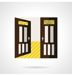 Flat brown open door icon vector image