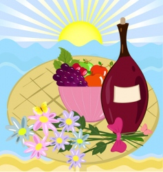 fruit flowers and a bottle of wine vector image