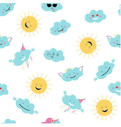 Funny emoji clouds and sun seamless vector
