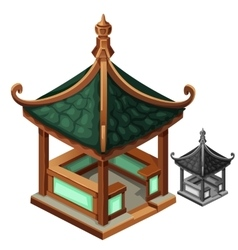 Gazebo in Oriental style with green roof vector