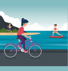Girls and boy practice healthy activity vector