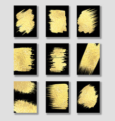 Gold foil cards templates vector