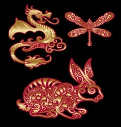 Golden Animal Ornament Dragon Dragonfly Rabbit vector image vector image