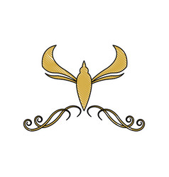 Golden crest decoration elegant vignette image vector
