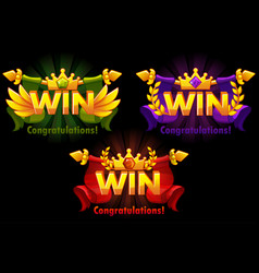 golden win versions isolated logo win with vector image
