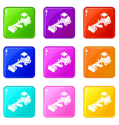 Grader icons set 9 color collection vector
