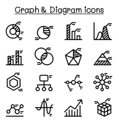 Graph data diagram icon set in thin line style vector