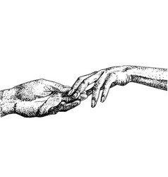 Hand drawn graceful hands of couple sketch vector