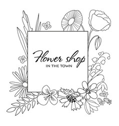 hand drawn sqare frame with wild outlined flowers vector image