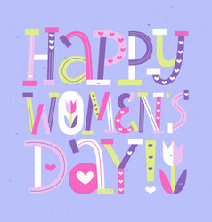 Happy women day typography design march 8 vector