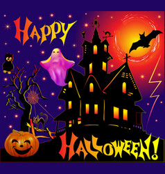 holiday adduction pumpkin house cat lightning vector image